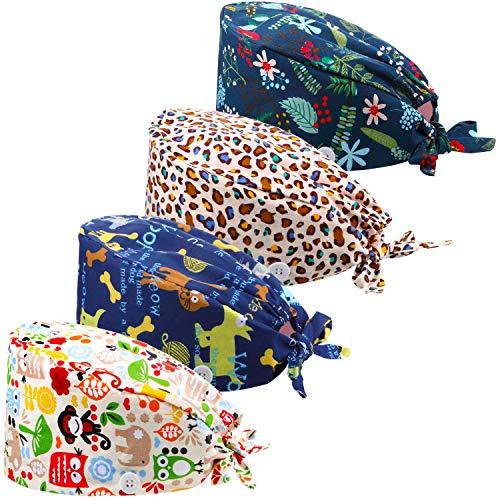 Geyoga 4 Cappelli Bouffant Lavoro con Fascia Bottoni (Stile Floreale) (Stile Stampato Animalier)