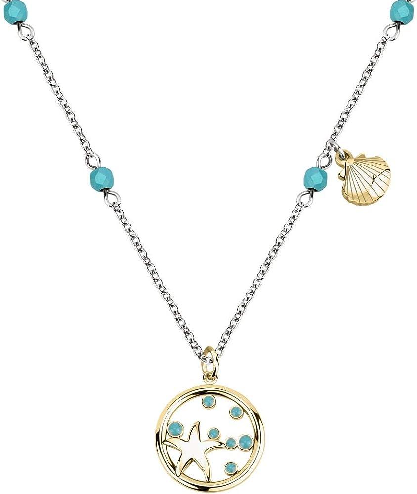 morellato collana da donna, collezione madagascar, in acciaio,con ciondolo,e pietre turchese satf04