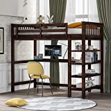 Loft Bed, Wooden Loft Bed Frame with Storage Shelves and Under-Bed Desk, Full-Length guardrail, Built-in Ladder, for Kids Teens Adult, Espresso (Twin)