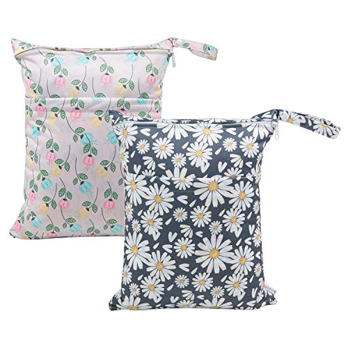 ALVABABY 2pcs Cloth Diaper Wet Dry Bags Waterproof Reusable with Two Zippered Pockets Travel Beach Pool Daycare Soiled Baby Items Yoga Gym Bag for Swimsuits or Wet Clothes L0821