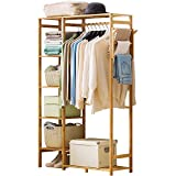 Ufine Bamboo Garment Rack 6 Tier Storage Shelves Clothes Hanging Rack with Side Hooks, Heavy Duty Clothing Rack Portable Wardrobe Closet Organizer