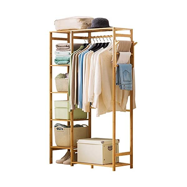 Ufine Bamboo Garment Rack 6 Tier Storage Shelves Clothes Hanging Rack with Side Hooks,...