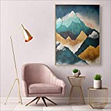 Night Fog Nordic Sunrise Mountain Lienzo Pintura e impresión Living Room Wall Pictures 20x25cm