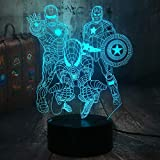 The Avengers Marvel Comics Iron Man Spiderman Captain America 3D Optical Illusion LED Night Light Boy Kids Toy Baby Sleep Desk Lamp Bedroom Decor Movie Fans Birthday Christmas Gift(The Avengers)