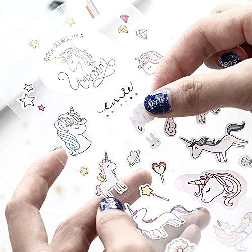 BLOUR Etiqueta de Unicornio de niña Creativa Coreana Estudiante Etiqueta engomada Decorativa de álbum de Estilo de Dibujos Animados Lindo