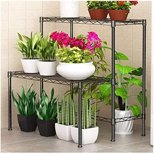 XWYHJ Pflanze Blumentopf Rack-Multiple Deformation Carbon Steel Metallregal Innen- und Außen Montage Storage Rack Blumenständer 6HJ83 (Farbe : Grau, Größe : 58 * 46 * 62cm)