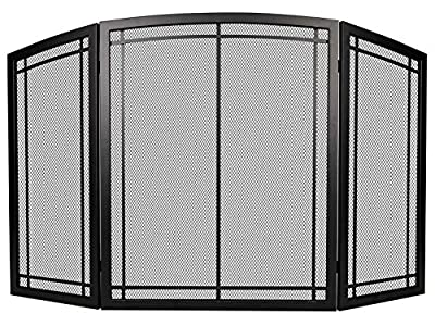 """FireBeauty Fireplace Screen 3 Panel with Handles Wrought Iron Black Metal 48""""(L) x30(H) Spark Guard Cover (Modern) from FireBeauty"""