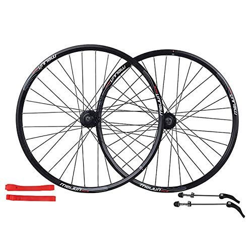 Ruedas para Bicicleta,26 Pulgadas 32 Agujeros Llantas de Aleación Aluminio Llanta de Freno Disco Doble Capa Apto para Bicicletas Juego de Ruedas Bicicleta Black,26 Inch