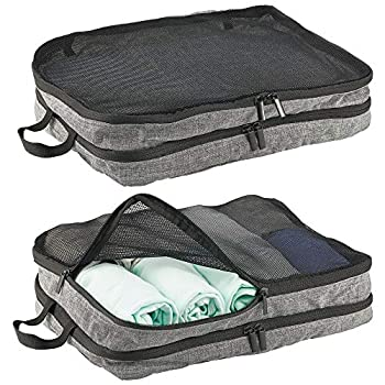 mDesign Double-Sided Fabric Travel Storage Organizer Cube with Mesh Tops Handles and Two-Way Zippers for Packing Suitcases Over Night Bags and Carry-On Luggage 2 Pack - Gray/Black