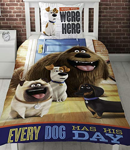 Secret Life of Pets Hounds Single Panel Duvet Cover Bed Set Every Dog Has His Day!