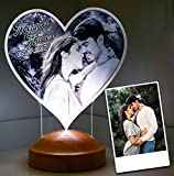 Fotogeschenk Valentinstag Geschenke Lampe Personalisierbar mit eigenem Foto und Text in 3D Bilder Led Motiv Lampe gravieren (Herz)