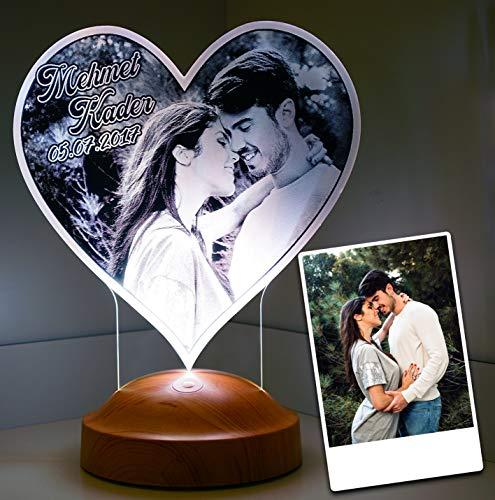 Sentidos Fotogeschenk Valentinstag Geschenk Personalisierbar mit eigenem Foto und Text in 3D Bilder Led Motiv Lampe gravieren (herz_foto)