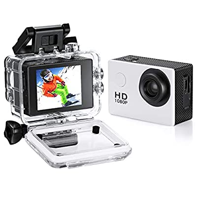 Waterproof Action Camera, 1080P 12MP Full HD Sports Camera Underwater 30M, 140 Degree Wide-Angle Mini DV Camcorder with Multi Accessories from Fusiontec