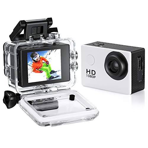 Waterproof Action Camera, 1080P 12MP Full HD Sports...