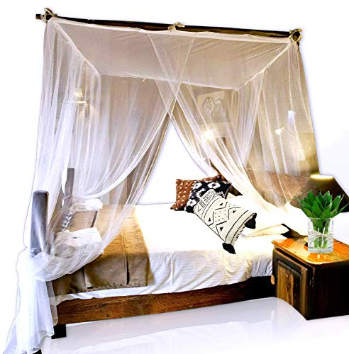 Basik Nature Jumbo Mosquito Net Canopy for King Size Bed. Mosquito Net Bed. The Thin Mesh Netting Lets The Breeze in and Bugs Out (2 Openings)