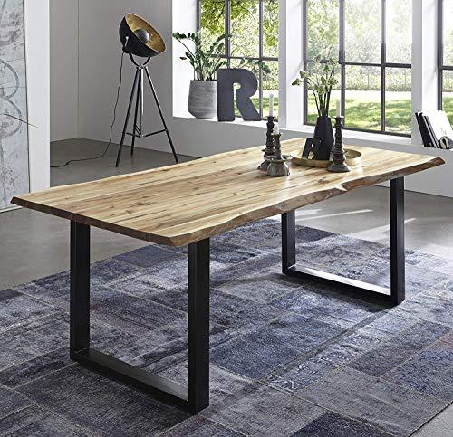 SAM Esszimmertisch 220x100 cm Quintus, echte Baumkante, naturfarben, massiver Esstisch aus Akazienholz, Metallbeine schwarz, Baumkantentisch