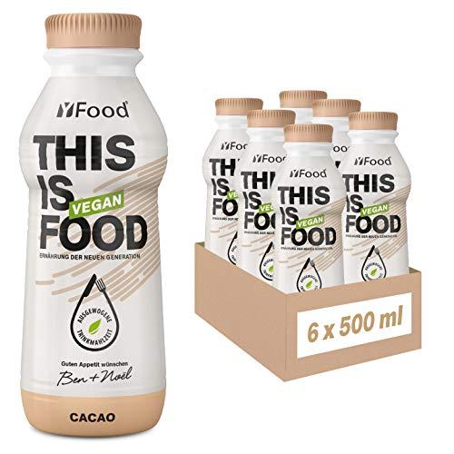 YFood Vegan Cacao | Laktose- und glutenfreier Nahrungsersatz | 26g Protein, 26 Vitamine & Mineralstoffe | Astronautennahrung - 25% des Kalorienbedarfs | Trinkmahlzeit, 6 x 500 ml | 1,50 € Pfand inkl.