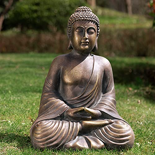 Glitzhome GH20383 Meditating Buddha Temple Garden Statue Outdoor Sculpture Decorative, 19' H