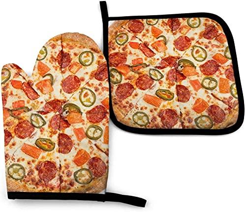 Insulate Heat I Love Pizza - Manopla de cocina antideslizante, guantes de horno de poliéster, resistentes al calor, guantes de cocina, guantes de horno y soportes para ollas, juego de 2