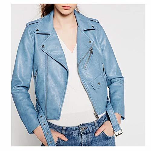 Huige leren jas voor dames, met ritssluiting, korte mouwen, tassen, riem, klep, motorjack