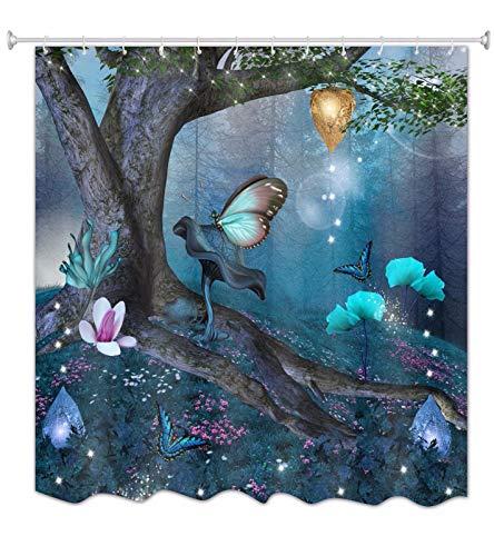A.Monamour Duschvorhang Wasserdicht Antischimmel Waschbar Stoff Feen Schmetterlings Blumen Verzauberten Baum Im Blauen Wald Textil Polyester Badezimmer Bad Badewanne Vorhang mit Haken 165x180 cm