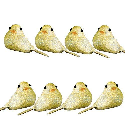 Doge Lot de 8 Mini Oiseaux pailletés Jaune Clair, Long. 4cm x larg. 2,5cm, à Poser ou Coller pour Une déco Festive