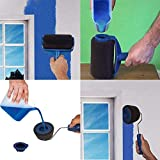 MOONBIFFY Paint Roller Brush Kit 6 PCS Paint Runner Pro Brush Handle Flocked Edger Room Wall Printing for Home Office