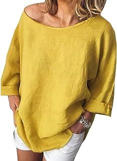 flywinner Womens Casual Cotton Linen Blouse Plus Size Long Sleeve T-shirts