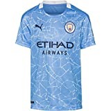 PUMA Manchester City Temporada 2020/21-HOME Shirt Replica SS Kids with SP Camiseta Primera Equipación, Niño, Team Light Blue-Peacoat, 164