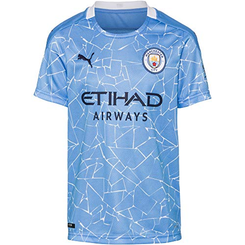 PUMA Uni Kinder Trikot 20/21 Home Manchester City FC Replica with Sponsor Logo T-Shirt, Team Light Blue-Peacoat, 176