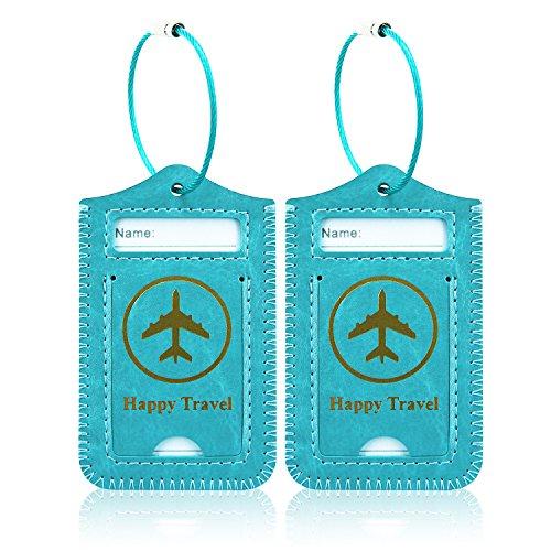 Kofferanhänger [2 Stück] Koffer , ACcolor Kofferanhänger aus Kunstleder, Gepäckanhänger ID Etikett mit Adressschild Edelstahlkabel für Reisetasche Koffer,