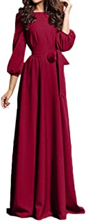 Women Long Maxi Dress - Lady Long Sleeve Evening Party Beach Dress Sundress Formal Robe