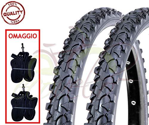 Ecovelò EBA26MAD 2 COPERTONI E + 2 CAMERE d'Aria per MTB Bici Bicicletta Nero 26 x 1.90 (50-559)