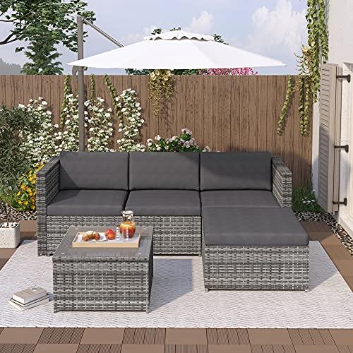 Dawns Conjunto de muebles de polirratán, muebles de jardín, sofá esquinero, sofá con cojines de asiento y respaldo, mesa de salón con tablero de cristal (gris)