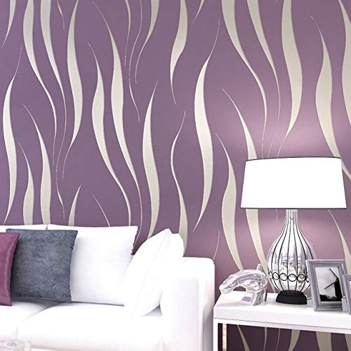 Wall Stickers ZYJ Modern 3D Abstract Geometric Wallpaper Roll For Room Bedroom Living Room Home Decoration Embossed Wallpaper Gray, Purple, Yellow 9.26 (Color : 1, Dimensions : 10mx0.53m)