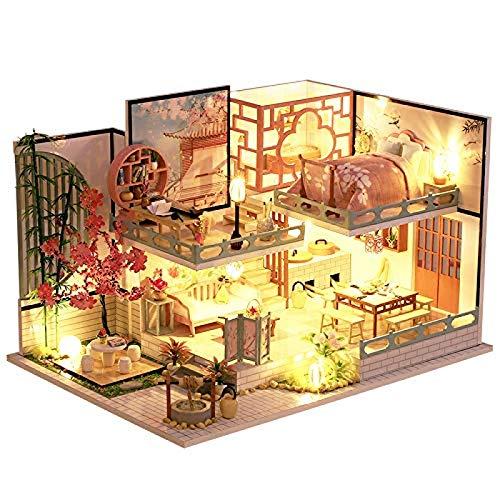 Casa de muñecas en miniatura con muebles, kit de casa de muñecas de madera más a prueba de polvo y movimiento musical, escala 1:24 Kits creativos de habitación regalos de cumpleaños