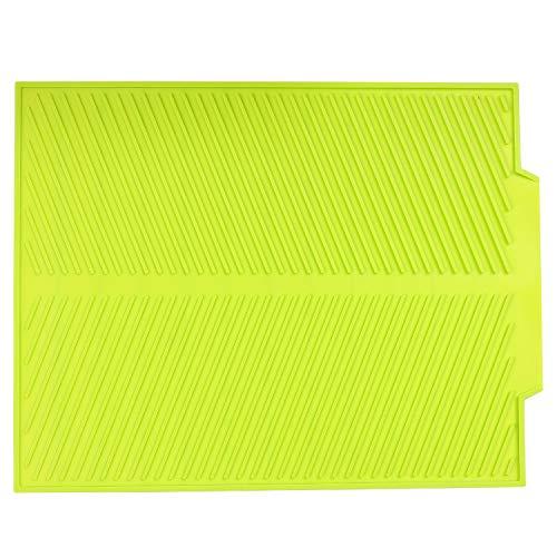 Alfombrilla Escurreplatos Silicona, Tapete Microfibra de Cocina Grande de poliéster y Microfibra para un Secado de Platos Rápido Verde 44 x 33cm x 0.6cm