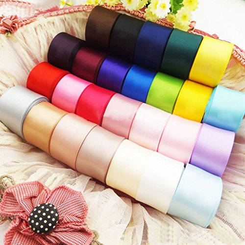 FLAMEER Bunte Satinbänder für Kinder Haarschleife Machen Scrapbooking Crafts DIY Pack von 24 Farben