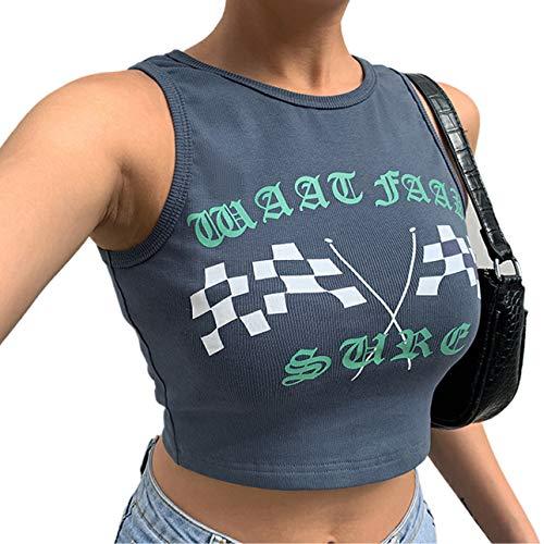 Camiseta corta de punto sin mangas para mujer Y2K cuello redondo básico acanalado de punto Tie Dye chaleco verano Cami Streetwear