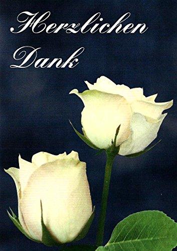 Trauer Danksagungskarten Trauerkarten mit Innentext Motiv weiße Rosen 10 Klappkarten DIN A6 im Hochformat mit weißen Umschlägen im Set Dankeskarten Dankeschön Karten Kuvert Danke sagen Beileid K104