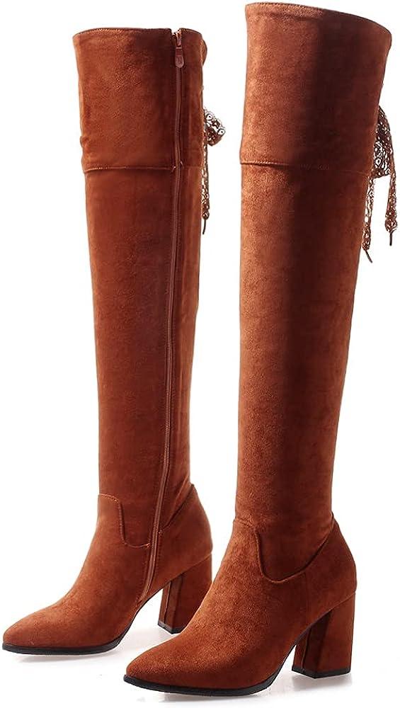 SO SIMPOK Women Suede Zipper Fashion Knee High Boots Ladies Retro Dress Western Chunky Heel Riding Shaft Boots