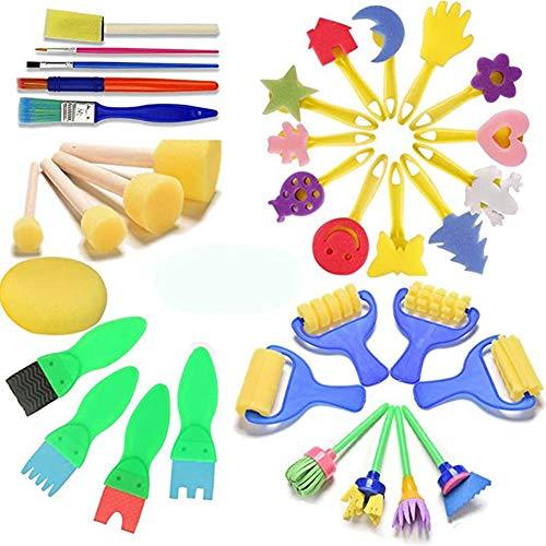 Jorzer Malerei-Kits für Kinder Sponge Malpinsel für Kinder, 34 PC Pinsel-Zeichnung-Kit für Kinder Male mit Kunststoff-Paletten und Schürze Kleinkinder Early Learning DIY Spielzeug