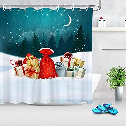 Duschvorhang für BadezimmerWinterwald Kiefer Schneeflocke Duschvorhang Set mit 12 Haken72x72 Zoll Extra langes Polyestergewebe wasserdicht