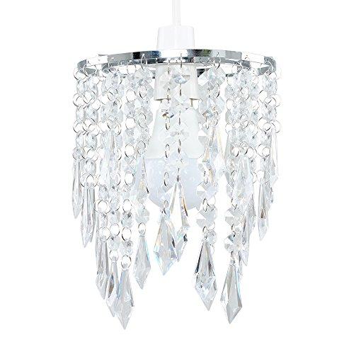 MiniSun – Eleganter 2-stufiger Kronleuchter mit hängenden Acryl Juwelen, Klar – Acryl Lüster, 1-flammig – Kronleuchter – Lampenschirm Decke – Kristall Kronleuchter (Chrom/Acryl)