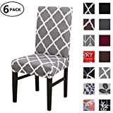 Dining Chair Cover Seat Protector Super Fit Slipcover Stretch Removable Washable Soft Spandex Fabric for Home Hotel Dining Room Ceremony Banquet Wedding Party Restaurant (Color 6, 6 Per Set)