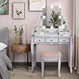 【Hollywood Mirror Vanity Table Set】- Make a statement in your home with an iconic design. It is perfect for complementing any unique space. Brighten your room with this luxurious addition. 【The High Quality LED Mirror】 - Includes 8 LED bulbs giving y...