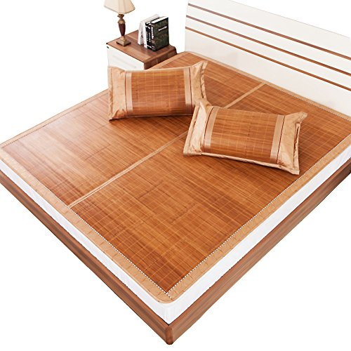 Summer Sleeping mat, Bamboo mat 3 Sets Double-Sided Folding Ultra Soft Cool Bedding Dormitory Student Twin Queen-C 90x190cm(35x75inch)