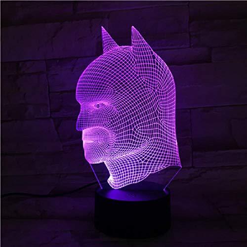 HXFGL 3D Nachtlampe Batman Held Abbildung 7 Farbe Nachtlicht LED Tischlampe Wohnzimmer Dekoration Exquisites Geschenk für Kinder