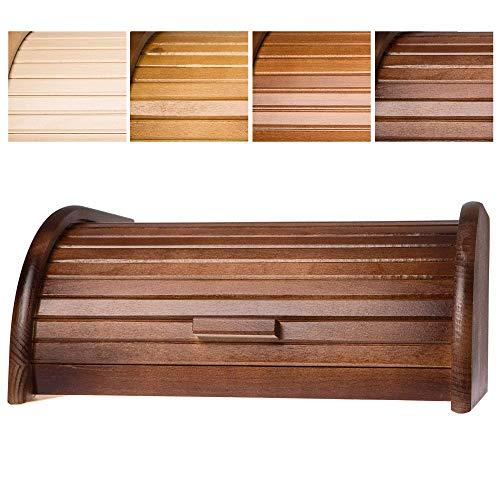 KADAX geräumiger Brotkasten aus hochqualitativem Holz, Brotbehälter mit Rolldeckel für längere frische, Brotbox mit Frontklappe, öko, Rollbrotkasten, Brotaufbewahrung (Dunkelbraun)