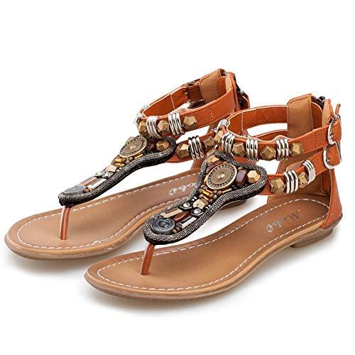 Sandalias planas Sandalias planas Zapatillas de verano Zapatillas de mujer Sandalias planas para mujer Sandalias planas para las mujeres Zapatillas de playa de verano para mujeres Marrón 35-40, Col